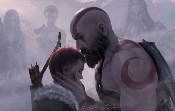 Картинка fantasy, game, Kratos, God of War, man, tattoo, weapons, digital art, bow, artwork, warrior, fantasy ...