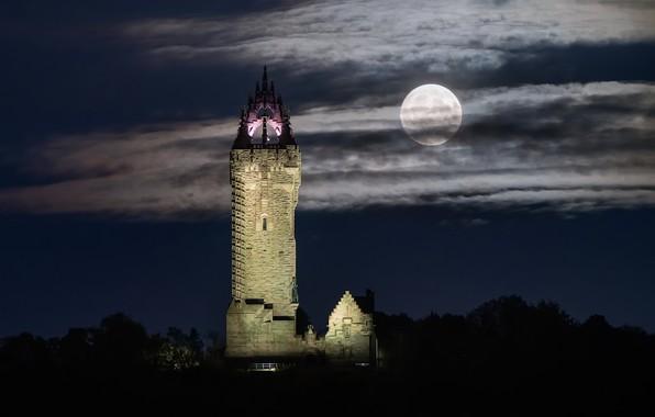 Картинка Стерлинг, Lunar, Night Sky, Wallace Monument