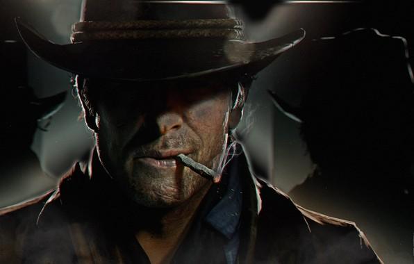 Картинка шляпа, арт, сигарета, ковбой, Red Dead Redemption 2, RDO, Артур Морган
