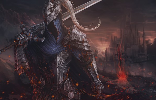 Картинка Доспехи, Меч, Fantasy, Арт, Art, Рыцарь, Фантастика, Dark Souls, Knight, Sword, Game Art, by Sergey ...