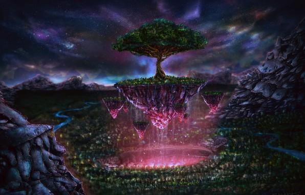 Картинка звезды, деревья, река, свечение, чудеса, волшебный мир, river, trees, glow, stars, fantasy art, парение, сказочная …