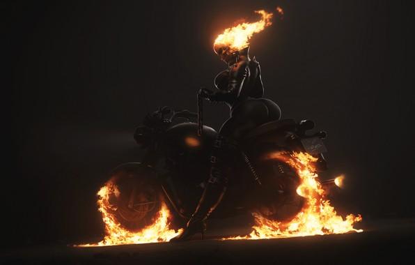 Картинка Минимализм, Череп, Огонь, Цепь, Мотоцикл, Фон, Ghost Rider, Призрачный гонщик, Пламя, Арт, Призрак, Фигура, Illustration, …