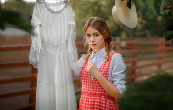 Картинка взгляд, Девушка, шляпа, платье, красивая, Ksenia Kokoreva, Настасья Паршина, Yuriy Zaharov