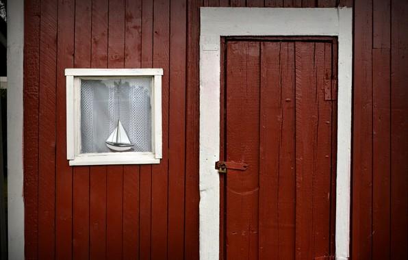 Картинка дом, дверь, окно, кораблик
