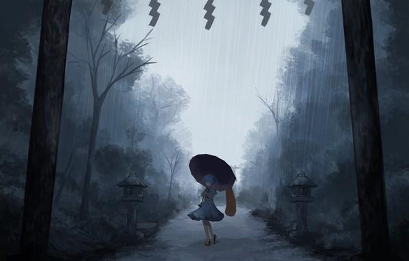 Картинка одиночество, ливень, tatara kogasa, под зонтом, проект Восток, мрачное место, туман вечером, touhou project