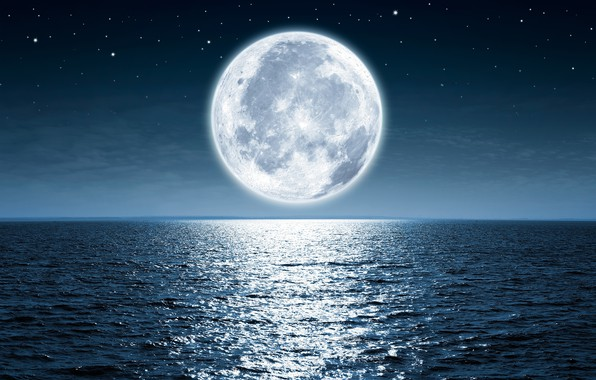 Картинка небо, звезды, свет, ночь, океан, луна
