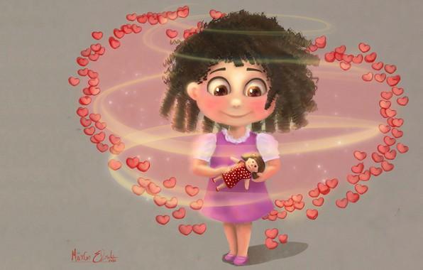 Картинка кукла, арт, девочка, сердечки, детская, Marcos Ebrahim, окружена любовью, Children Illustration/Concept