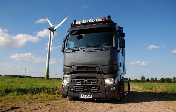 Картинка поле, грузовик, Renault, тягач, Torpedo, T520, Renault Trucks, T-series, ветряной электрогенератор