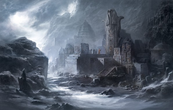 Картинка dark, fantasy, mountains, people, Temple, ruins, artwork, fantasy art, priests, statues, wizards, magicians