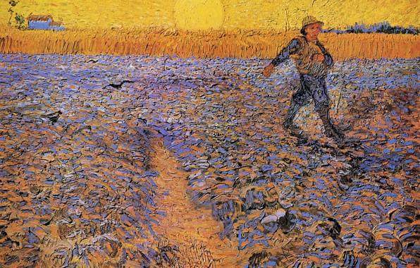 Картинка поле, солнце, Vincent van Gogh, The Sower 4, парень в шляпе, дом в далеке