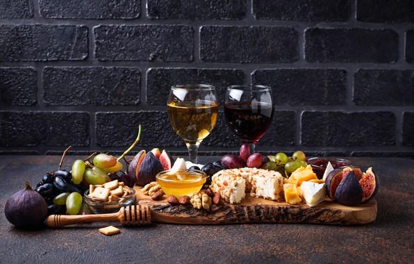 Картинка вино, сыр, виноград, инжир