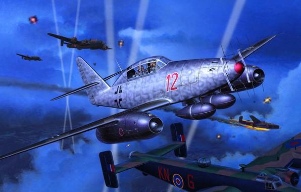 Картинка Messerschmitt, Me-262, Лучи прожекторов, Nightfighter, Me 262B-1a/U1