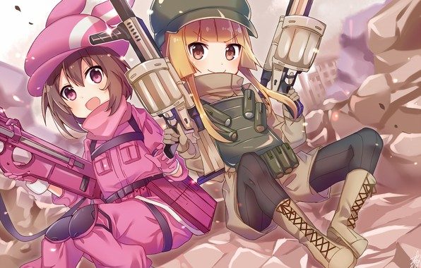 Картинка оружие, девочки, аниме, Sword Art Online, Sword Art Online Alternative: Gun Gale Online