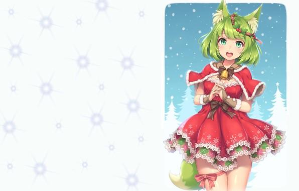 Картинка аниме, арт, Новый год, снегурочка, лисичка, колокольчик, бантик, венок, ушки, хвостик, подвязка, костюмчик