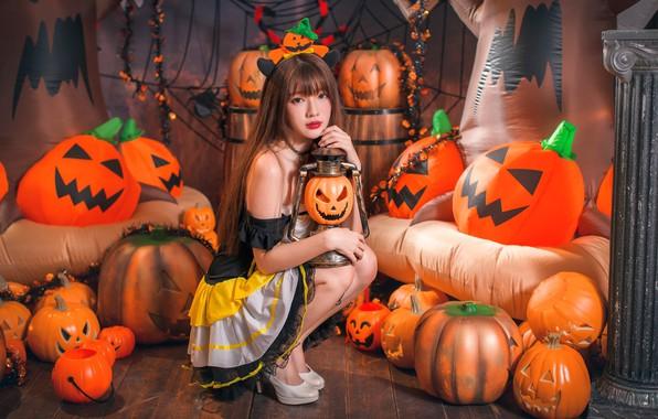 Картинка девушка, тыквы, Хеллоуин, азиатка, 31 октября