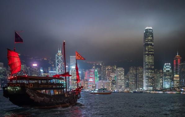 Картинка море, ночь, город, корабль