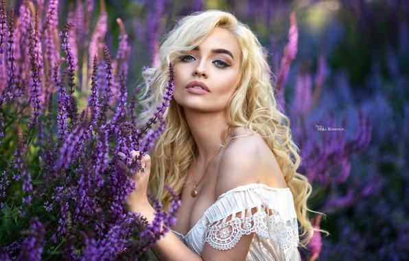 Картинка трава, взгляд, цветы, модель, портрет, макияж, платье, блондинка, красотка, в белом, на природе, позирует, боке, …