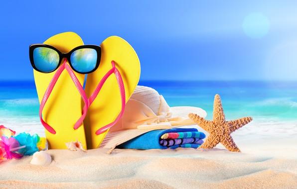 Картинка песок, море, пляж, лето, звезда, отпуск, шляпа, очки, ракушки, summer, beach, sand, сланцы, vacation, starfish, …