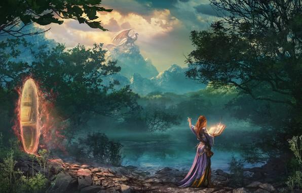Картинка лес, девушка, деревья, природа, портал, фэнтези, арт, маг, книга