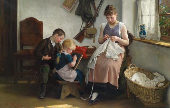 Картинка 1892, Austrian painter, австрийский живописец, oil on canvas, Family idyll, Albert Ritzberger, Альберт Ритцбергер, Семейная …