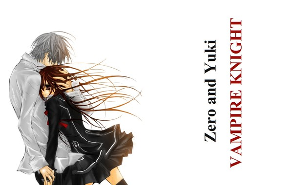 Картинка длинные волосы, art, обьятия, студенты, vampire knight, yuuki cross, рыцарь-вампир, белая рубашка, matsuri hino, zero …