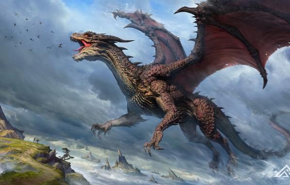 Картинка небо, люди, скалы, дракон, крылья, мощь, фэнтези, арт, пасть, art