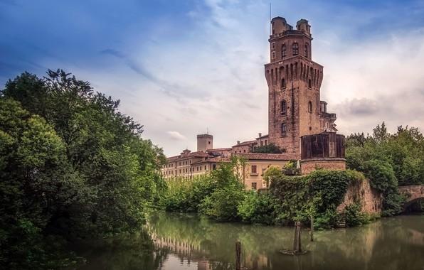 Картинка небо, облака, деревья, река, здание, башня, Италия, Astronomical Observatory Padova