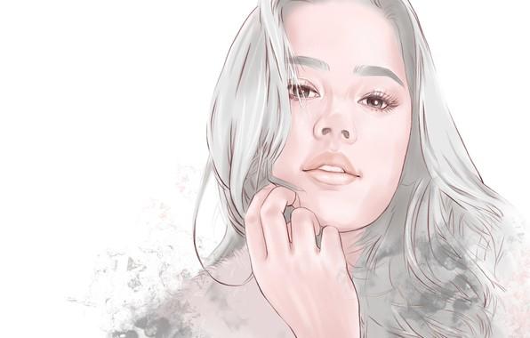 Картинка Girl, long hair, art, face, artwork, portrait, simple background