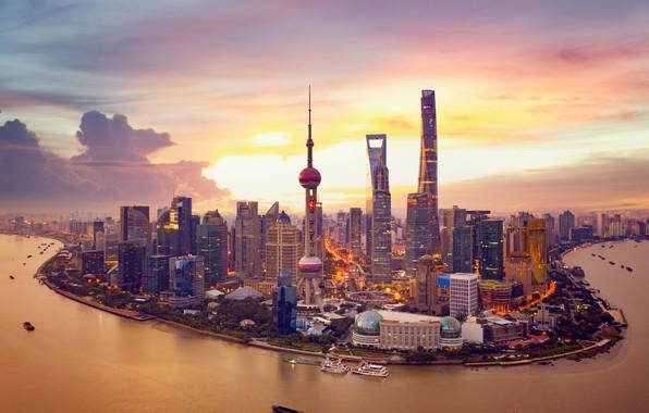 Картинка закат, река, China, здания, башня, дома, Китай, Shanghai, Шанхай, небоскрёбы, Huangpu River, Река Хуанпу