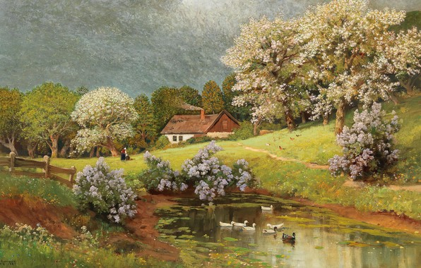 Картинка Alois Arnegger, Austrian painter, австрийский живописец, oil on canvas, Алоис Арнеггер, Весенний пейзаж с утками, …