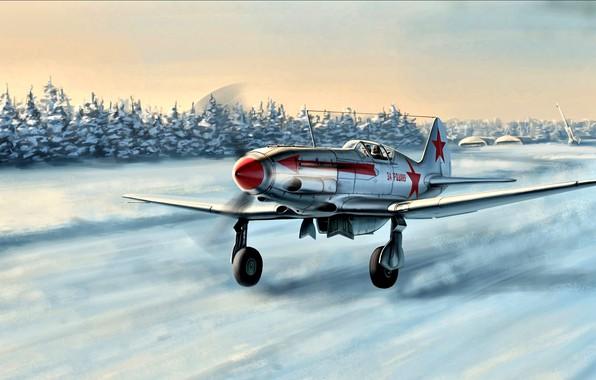 Фото обои Зима, Снег, истребитель, Взлёт, МиГ-3, советский, Вторая Мировая война, высотный перехватчик, ВВС Красной Армии