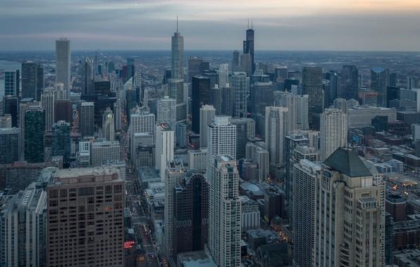 Картинка небо, город, огни, дома, вечер, горизонт, Чикаго, США, Chicago, небоскрёбы, вид сверху