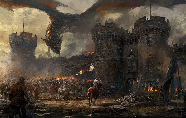 Картинка fire, wall, fantasy, Dragon, soldiers, armor, smoke, army, horse, castle, weapons, artwork, fantasy art, siege, …