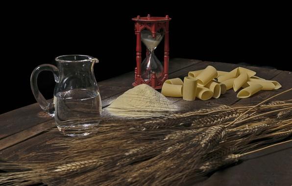 Картинка часы, кувшин, мука, макароны