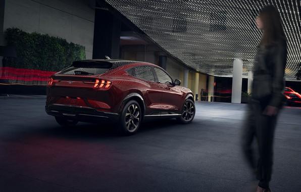 Картинка Mustang, Ford, Форд, Мустанг, 2020, электрический кроссовер, electric SUV, Ford Mustang Mach-E SUV, sports coupe