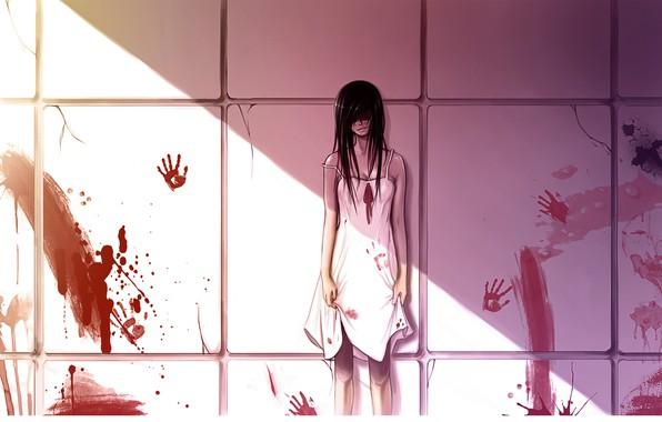 Картинка жертва, ужас, черные волосы, убийца, кровища, у стены, брызги крови, свет и тень, руки в …