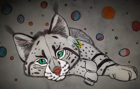 Картинка кошка, рисунок, арт, рысь