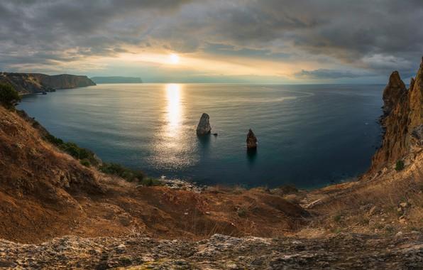 Картинка море, закат, скалы, побережье, Россия, Крым, Чёрное море, Севастополь, Мыс Фиолент