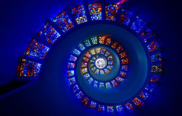 Картинка спираль, витражи, spiral, stained glass, Michael Zheng