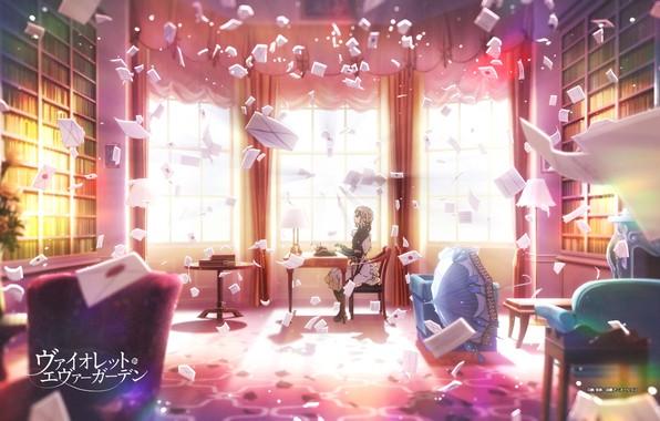 Картинка стол, книги, кресло, зонт, окно, печатная машинка, библиотека, лучи света, горничная, в комнате, art, письма, …