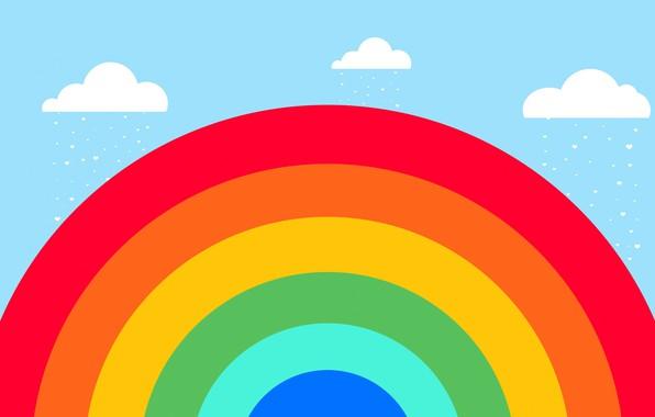 Картинка облака, дождь, радуга