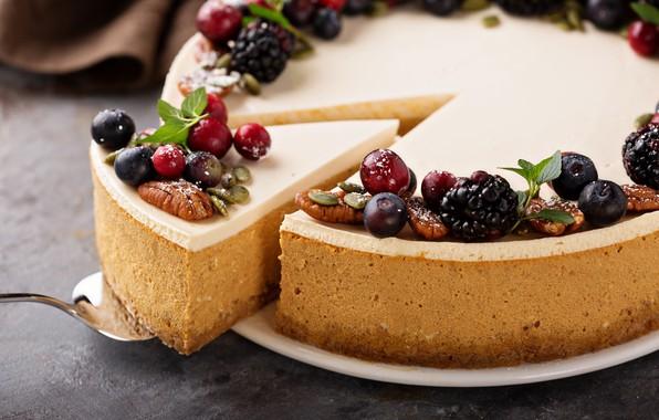 Картинка ягоды, торт, украшение, орехи, крем, десерт, выпечка