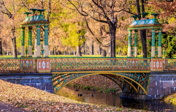 Картинка осень, листья, деревья, мост, парк, река, colorful, river, nature, bridge, park, autumn, leaves, tree