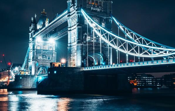 Картинка вода, свет, ночь, мост, city, город, огни, река, Лондон, ночной город, Тауэрский мост, water