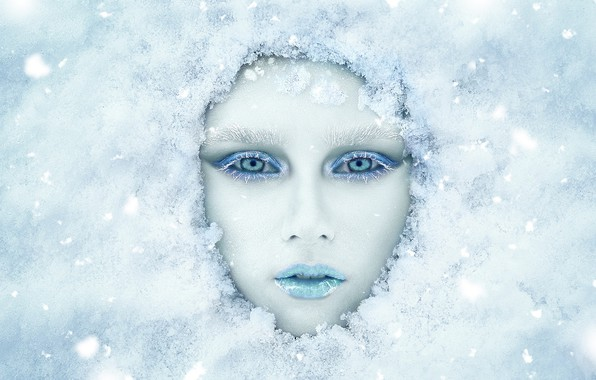 Картинка зима, взгляд, девушка, снег, лицо, макияж, Ренат Фотов, Анастасия Косухина