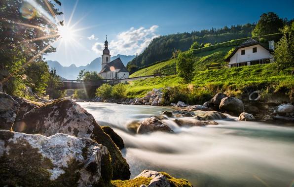 Картинка мост, река, камни, Германия, Бавария, церковь, Germany, Bavaria, Bavarian Alps, Баварские Альпы, Рамзау, Ramsau, St …