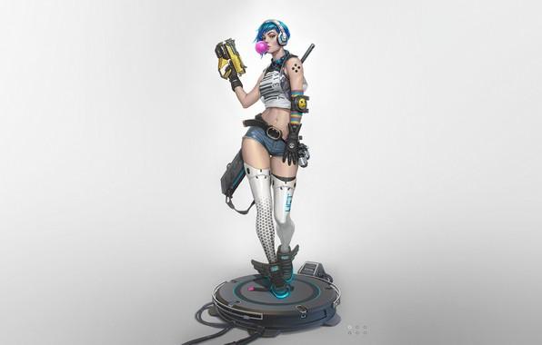 Картинка Girl, Gun, Art, Style, sci-fi, Background, Weapon, Minimalism, Cyber, First, Cyberpunk, Dan Pogrebn, Bubble gum, …