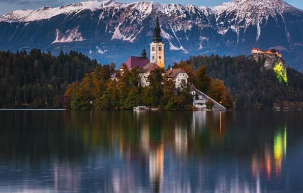 Картинка горы, озеро, монастырь, Словения, Блед