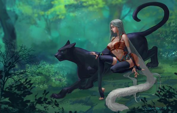 Картинка лес, девушка, пантера, арт, Suroo, bigcat and girl