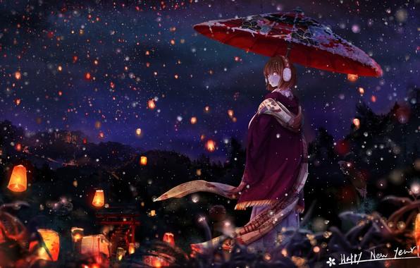 Картинка зима, снег, ночь, зонт, Япония, шарф, девочка, накидка, красные фонари, в полоборота, ворота тории